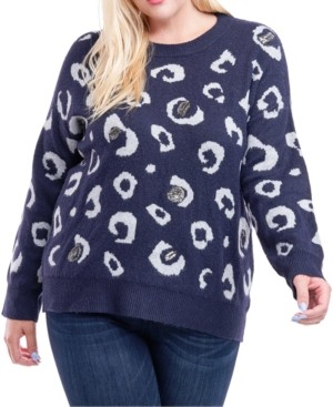 Fever Plus Size Cheetah-Print Sequined Sweater