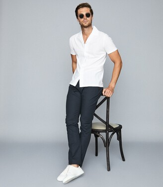 Reiss Julius - Textured Cuban Collar Shirt in White