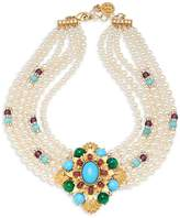 Ben-Amun Women's Crystal and Faux Pearl Multi-Strand Collar Necklace