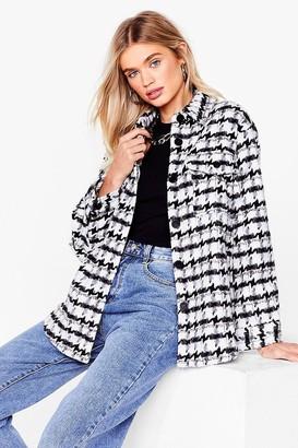 Nasty Gal Womens Wool You Look At That Check Shirt Jacket - Black