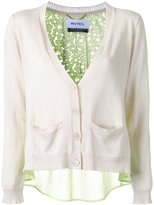 Muveil back lace panel cardigan - women - Cotton/Linen/Flax - 38