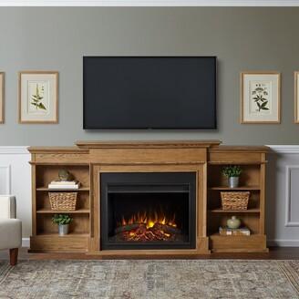 Real Flame Ashton Grand Media Electric Fireplace in English Oak - 92.375 x 14.5 x 42.5
