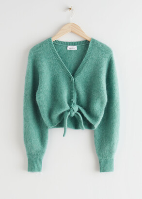 And other stories Cropped Boxy Front Tie Cardigan