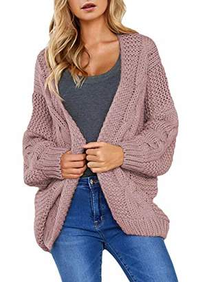 Actloe Women Open Front Chunky Knit Long Sleeve Cardigan Casual Outwear Plus Size