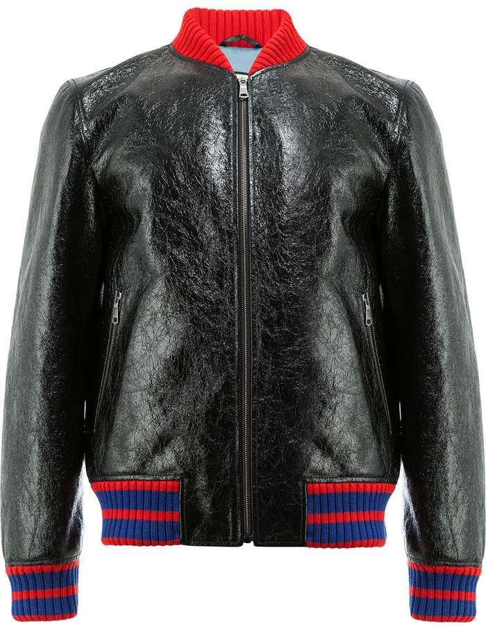 Gucci GG Web patent bomber jacket