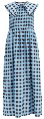 Ganni Ruffled-collar Shirred Gingham Cotton-blend Dress - Blue