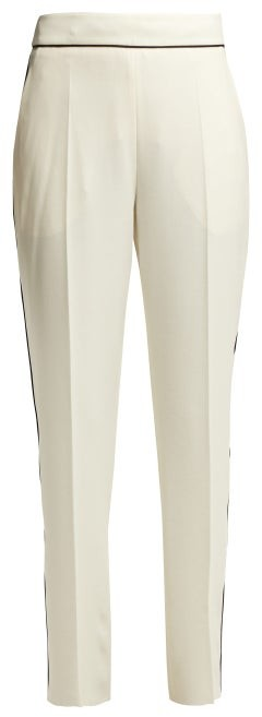Etro High Rise Crepe Trousers - Womens - Ivory