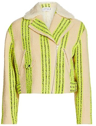 Tanya Taylor Patty Stripe Moto Jacket