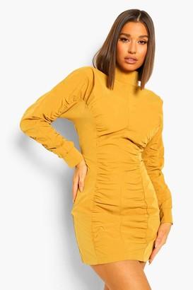 boohoo High Neck Ruched Detail Long Sleeve Mini Dress
