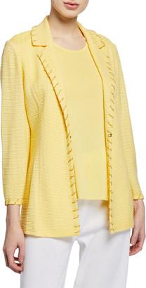 Misook Textured Notch-Collar Jacket with Trim Detail