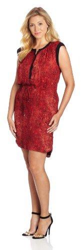 Chaus Women's Combo Fabric Animal Spots Short Dress