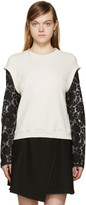 3.1 Phillip Lim Cream and Black Lace Sleeve Pullover