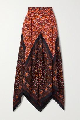 Altuzarra Hance Asymmetric Floral-print Silk Crepe De Chine Maxi Skirt - Brick
