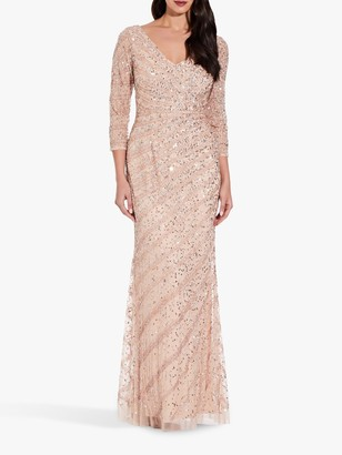 Adrianna Papell 3/4 Length Sleeve Embellished Maxi Dress, Champagne Sand
