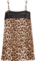 Roberto Cavalli Lace-Trimmed Leopard-Print Silk-Blend Camisole