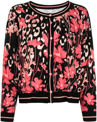 Twin-Set Floral-Print Knitted Cardigan