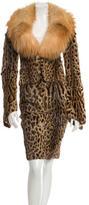 Roberto Cavalli Printed Fur Skirt Suit