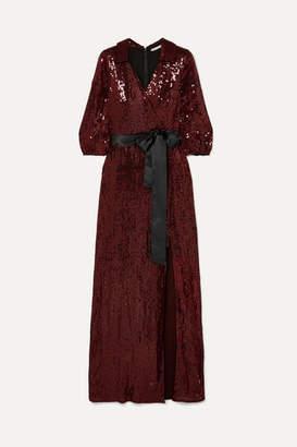 Alice + Olivia Alice Olivia - Bayley Satin-trimmed Sequined Chiffon Maxi Dress - Burgundy