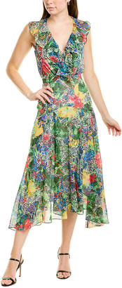 Saloni Rita Silk-Blend Midi Dress