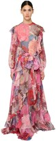 Valentino Printed Silk Chiffon Long Dress