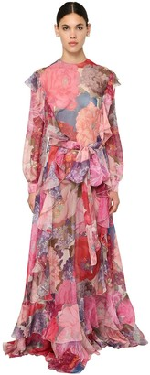 Valentino Printed Silk Chiffon Long Dress