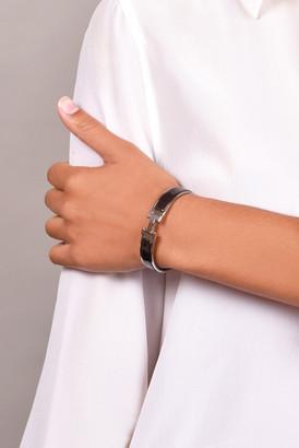Hermes Narrow Clic H Bracelet (Noir/Palladium Plated) - PM