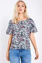 Jack Wills Bodenham Floral Frill Sleeve Tee