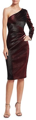 Theia One-Shoulder Metallic Cocktail Dress