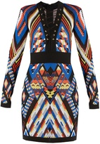 Balmain Geometric-pattern knitted dress