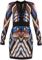 Balmain Geometric-pattern knitted dress