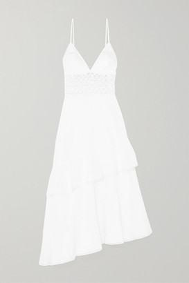 Charo Ruiz Ibiza Noa Asymmetric Crocheted Lace-paneled Cotton-blend Voile Dress - White