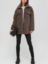 Thumbnail for your product : Very Teddy Faux Fur Shacket - Fawn