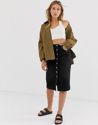 NA-KD Na Kd button up midi denim skirt in black