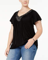 Soprano Trendy Plus Size Embellished V-Neck Top