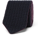 Ermenegildo Zegna 6cm Reversible Knitted Cashmere Tie - Midnight blue