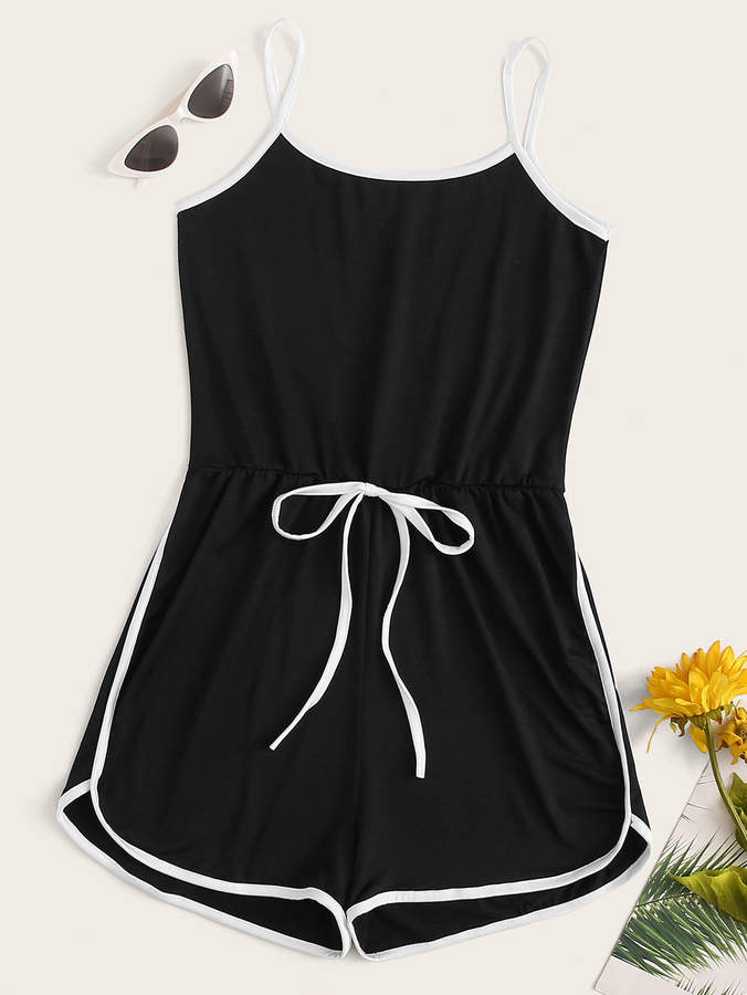 Shein Drawstring Waist Binding Trim Cami playsuit