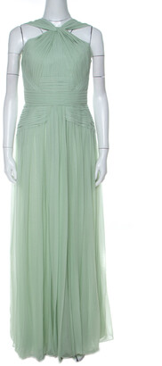 Elie Saab Mint Green Silk Georgette Pleated Dress S
