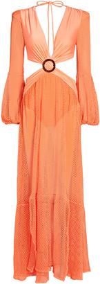 PatBO Mesh Cut-Out Maxi Dress