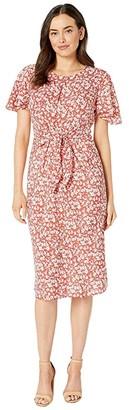 Lauren Ralph Lauren Keyhole Crepe Dress (Canyon Red/Mascarpone Cream) Women's Dress