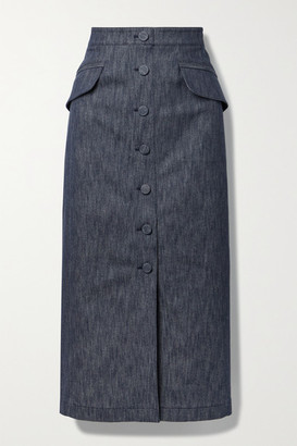 Carolina Herrera Stretch-denim Midi Skirt - Dark denim