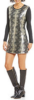 Calvin Klein Jeans Sequin Front Long Sleeve Knit Dress