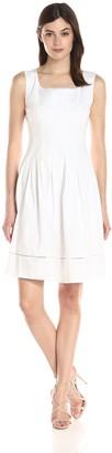 Ellen Tracy Women's White Sleeveless Drop Waist Dress 2