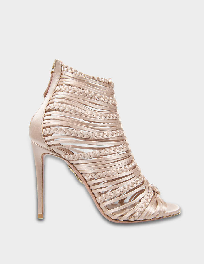 Aquazzura Goddess Sandals 105 in Powder Pink Satin