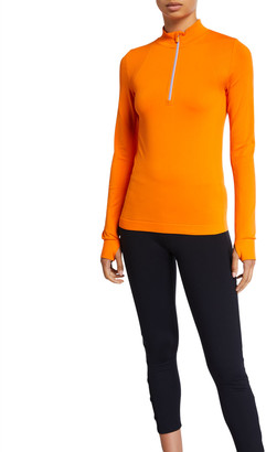 Tory Sport Seamless Quarter-Zip Long-Sleeve Pullover Top