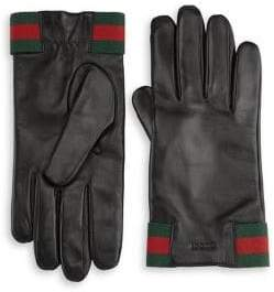 Gucci Cashmere Lined Leather Moto Gloves