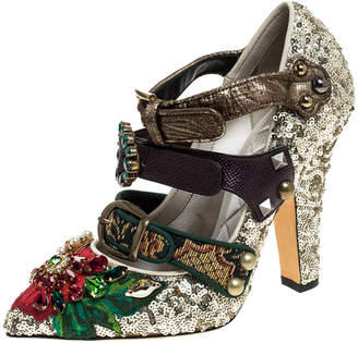 Dolce & Gabbana Multicolor Mixed Media Crystal Embellished Mary Jane Pumps Size 37.5