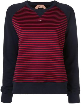 No.21 Printed Logo Striped Sweatshirt