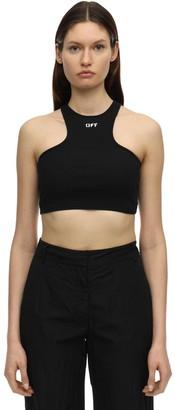 Off-White Logo Cotton Blend Jersey Crop Top