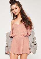 Missguided Pink Jersey Cold Shoulder Romper