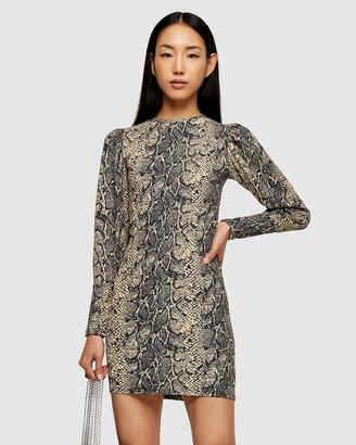 Topshop Snake Crinkle Long Sleeve Mini Dress